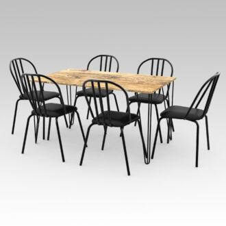Mesa Industrial Rect. 1,40m + 6 sillas brooklyn
