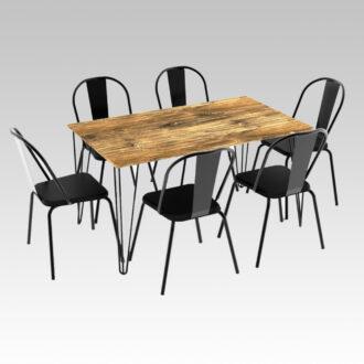 Mesa Industrial Rect. 1,40m + 6 sillas madison